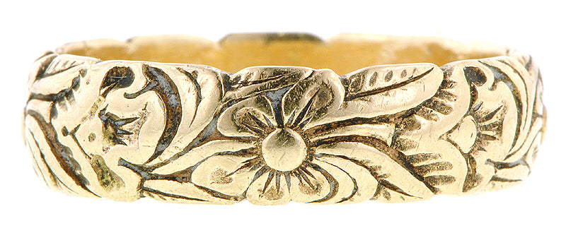 Floral Motif Patterned Wedding Band
