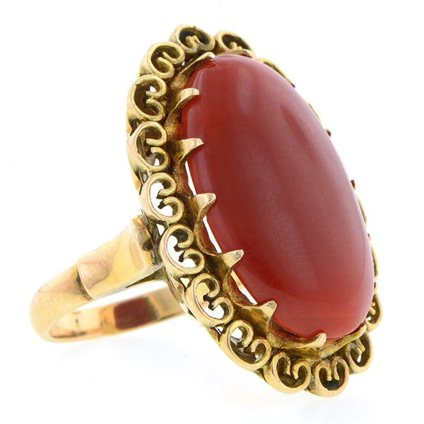 Vintage Oval Red Coral Ring : Doyle & Doyle