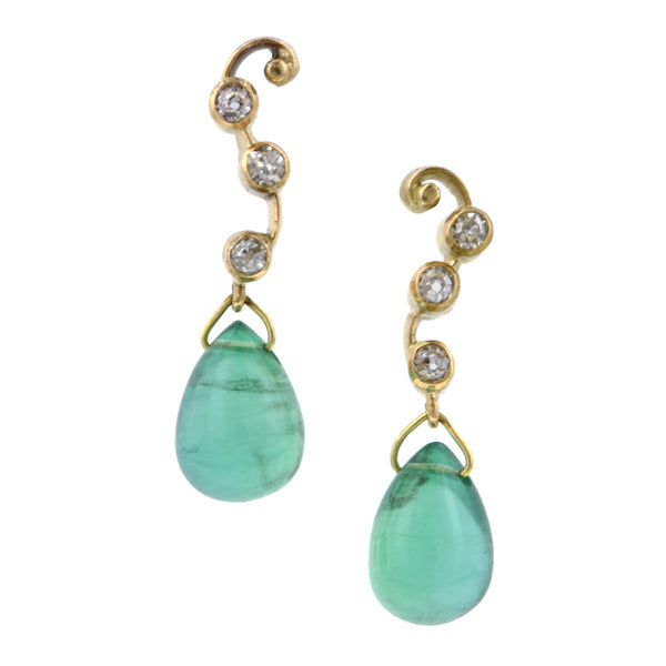 Diamond & Emerald Drop Earrings:: Doyle & Doyle