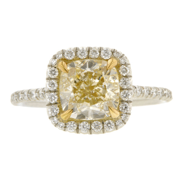 Fancy Yellow Engagement Ring. 2.01 Cushion :: Doyle & Doyle