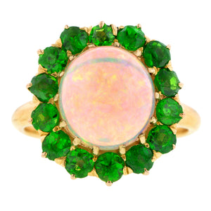 Antique Opal & Demantoid Garnet Cluster Ring:: Doyle & Doyle