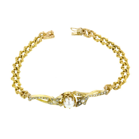 Antique Pearl & Rose Cut Diamond Bracelet::Doyle & Doyle