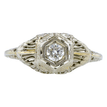 Art Deco Engagement Ring, RBC Diamond 0.15ct, sold by Doyle & Doyle an antique and vintage jewelry store.