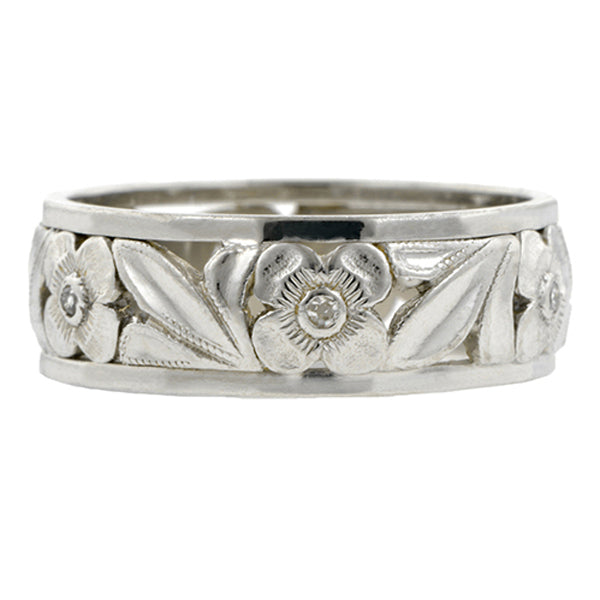 Vintage Diamond Band Ring with Flower Pattern, Platinum, sold by Doyle & Doyle vintage and antique jewelry boutique.