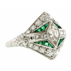 Vintage Diamond & Emerald Engagement Ring, Hex Step 0.60ct:: Doyle & Doyle