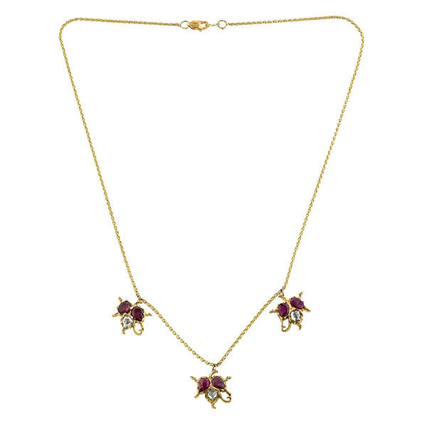 Antique Ruby & Rose Cut Diamond Necklace :: Doyle & Doyle