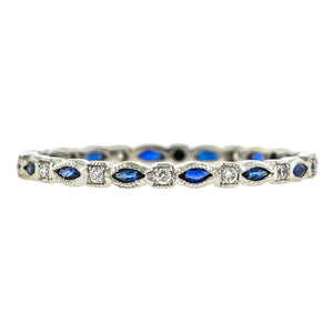 Marquise Sapphire & Diamond Wedding Band