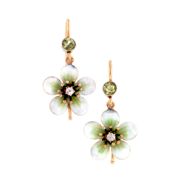 Antique Enamel Diamond & Peridot Flower Earrings