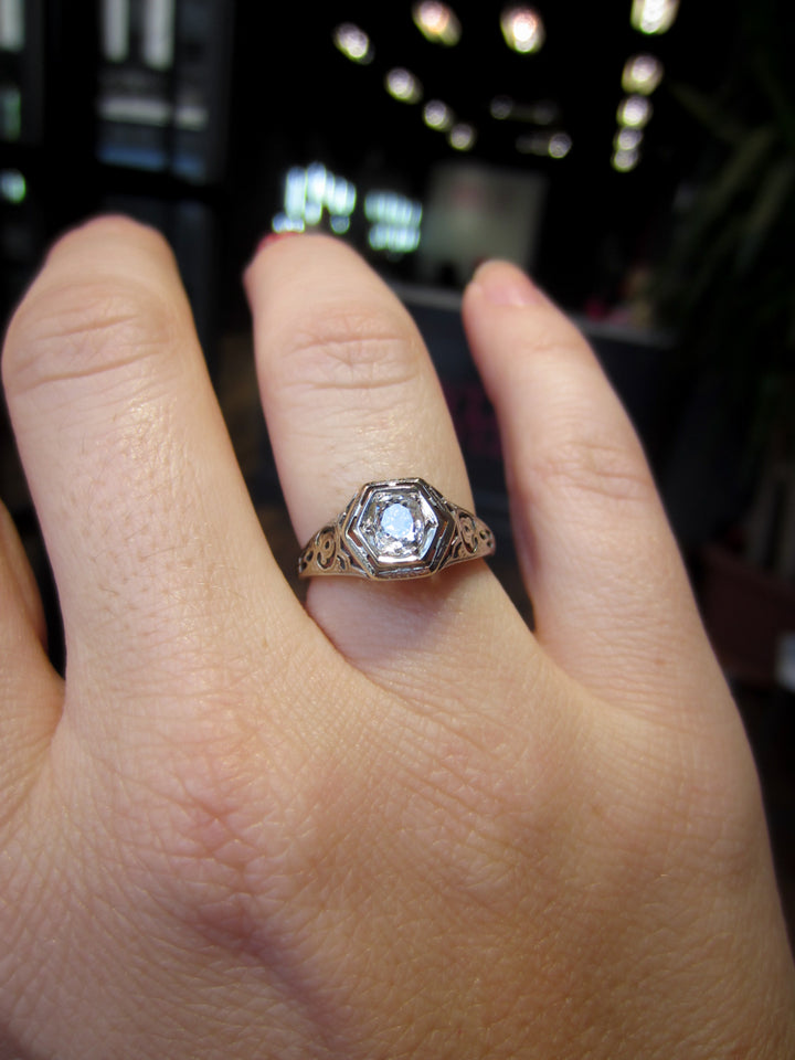 Art Deco Engagement Ring, Old Mine 0.40:: Doyle & Doyle
