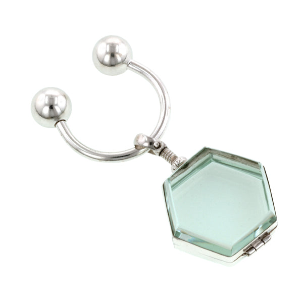 Hexagonal Double Sided Glass Locket Key Chain:: Doyle & Doyle