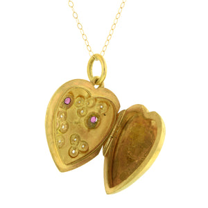 Victorian Ruby & Diamond Heart Locket