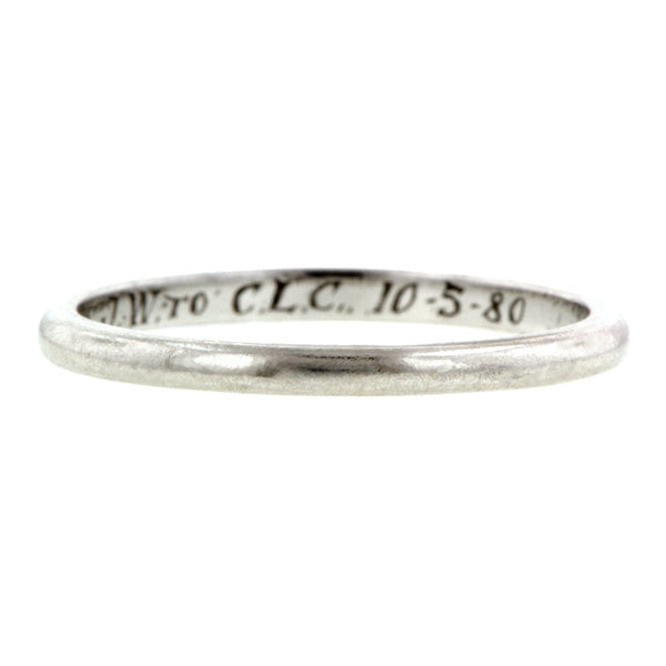 Vintage Platinum Wedding Band sold by  Doyle & Doyle vintage and antique jewelry boutique.