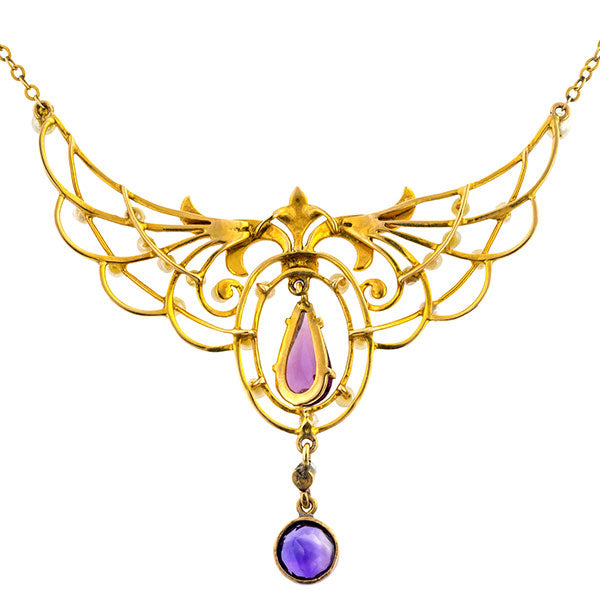 Belle Epoch necklace: a 10k Yellow Gold Amethyst and Pearl Necklace sold by Doyle & Doyle vintage and antique jewelry boutique.