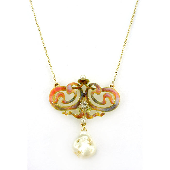 Art Nouveau Enamel* Diamond & Pearl Necklace