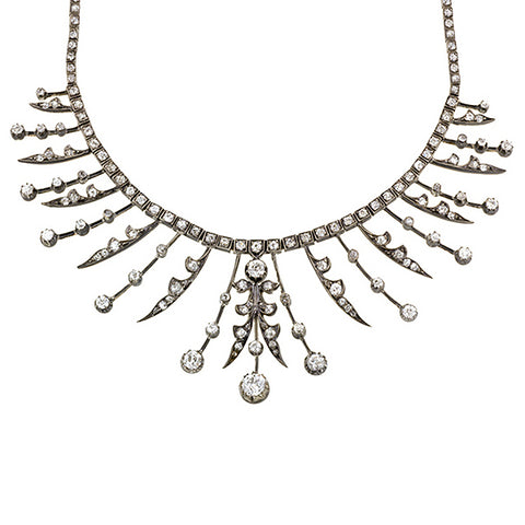 Victorian Old European Diamond Fringe Necklace