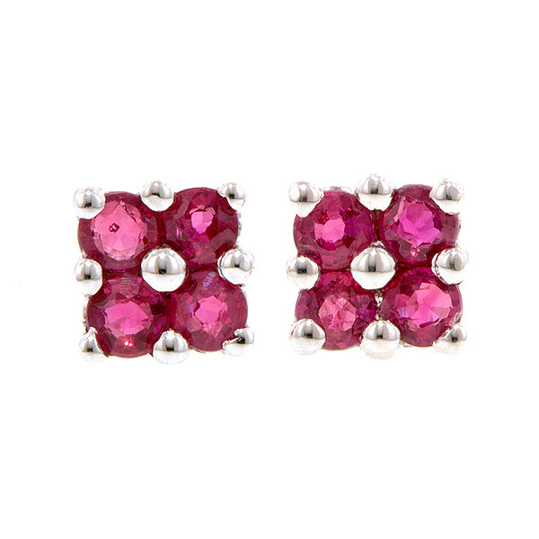 Four Ruby Flower Cluster Earrings 14kw^