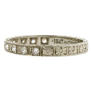 Art Deco Diamond Patterned Wedding Band