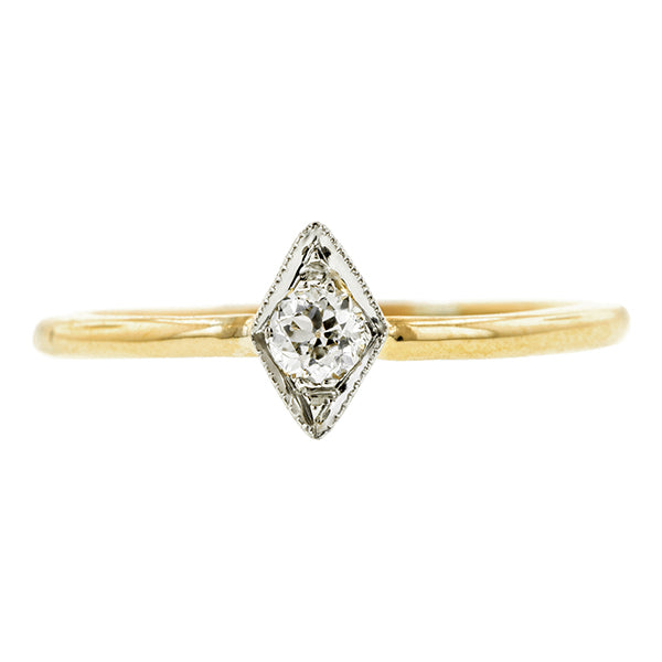 Edwardian Solitaire Diamond Engagement Ring, Old Euro 0.12ct:: Doyle & Doyle
