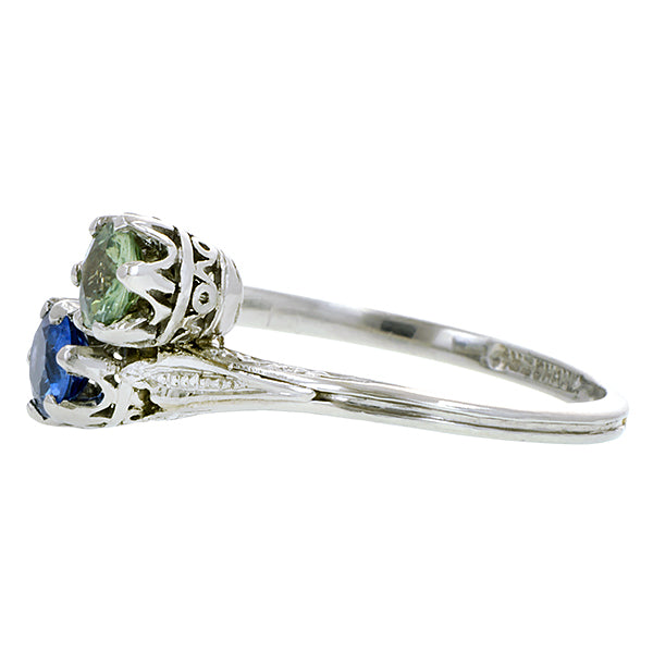 Edwardian Blue and Green Sapphire Toi et Moi Ring:: Doyle & Doyle