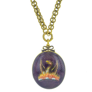 Painted Enamel Phoenix Locket with Painted Minature Portrait & Prince of Wales Hair Plumes