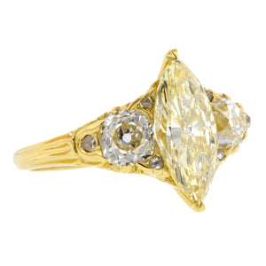 Antique Fancy Yellow Diamond Engagement Ring, MQ 2.00ct :: Doyle & Doyle