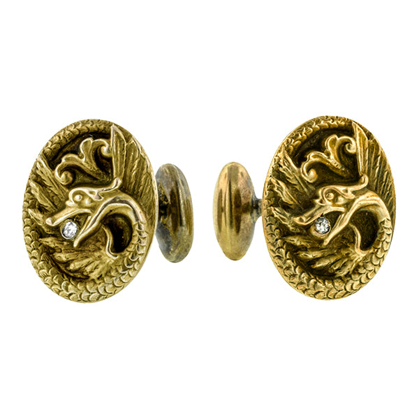 Art Nouveau Diamond Griffin Cufflinks:: Doyle & Doyle