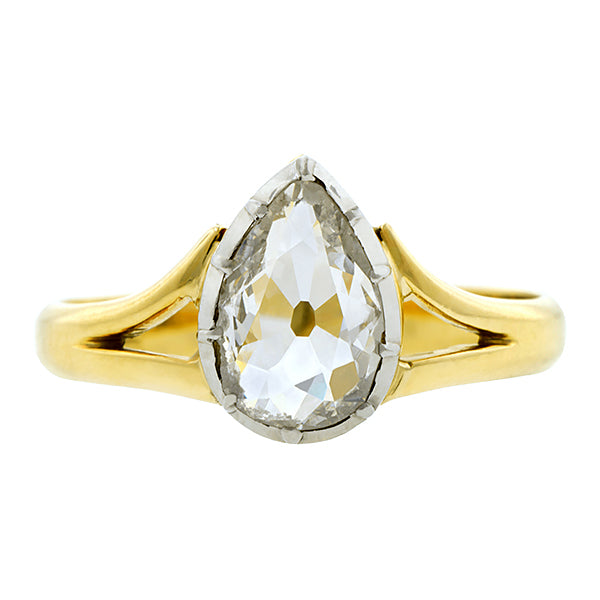 Victorian Pear Shaped Diamond Ring:: Doyle & Doyle