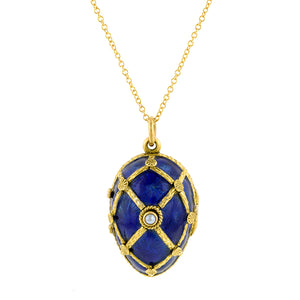 Vintage Blue Enamel & Pearl Egg Locket