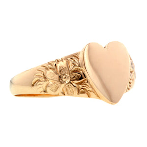 Vintage Heart Signet Ring