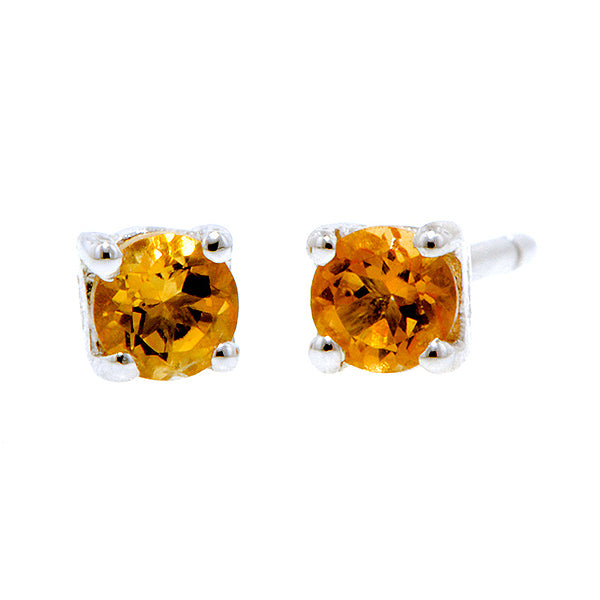 Round Citrine 3mm Stud Earrings