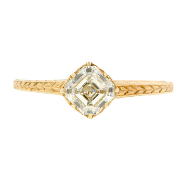 Vintage Assher Cut Engagement Ring, 0.76ct Doyle & Doyle