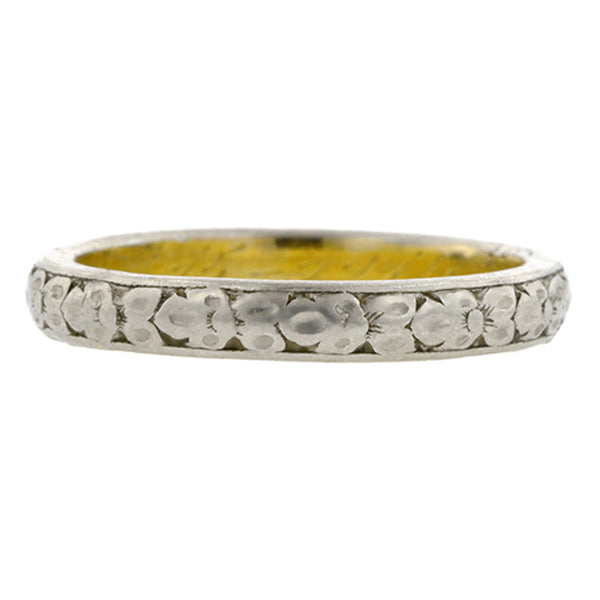 Edwardian Wedding Band Ring with Pattern sold by Doyle & Doylean antique and vintage jewelry store.