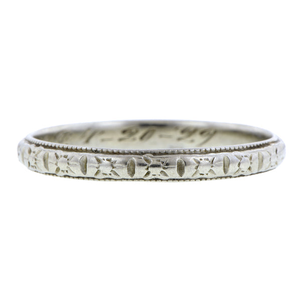 Art Deco ring: a White Gold Patterned Wedding Band sold by Doyle & Doyle vintage and antique jewelry boutique.
