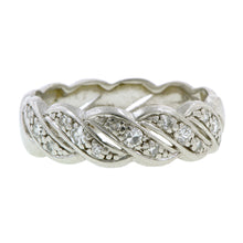 Vintage Wide Twist Diamond Platinum Wedding Band::Doyle & Doyle