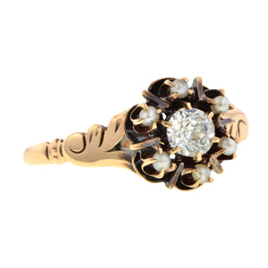 Victorian Pearl & Diamond Ring::Doyle & Doyle