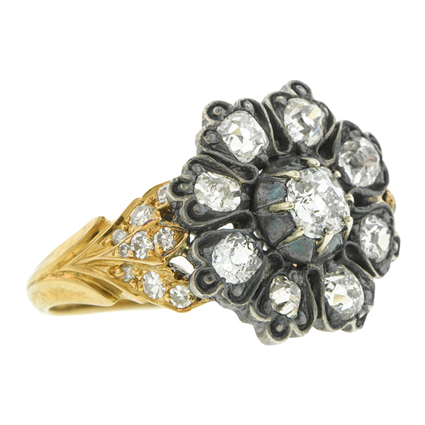 Georgian ring: a Yellow Gold And Silver Diamond Cluster Engagement Ring sold by Doyle & Doyle vintage and antique jewelry boutique.