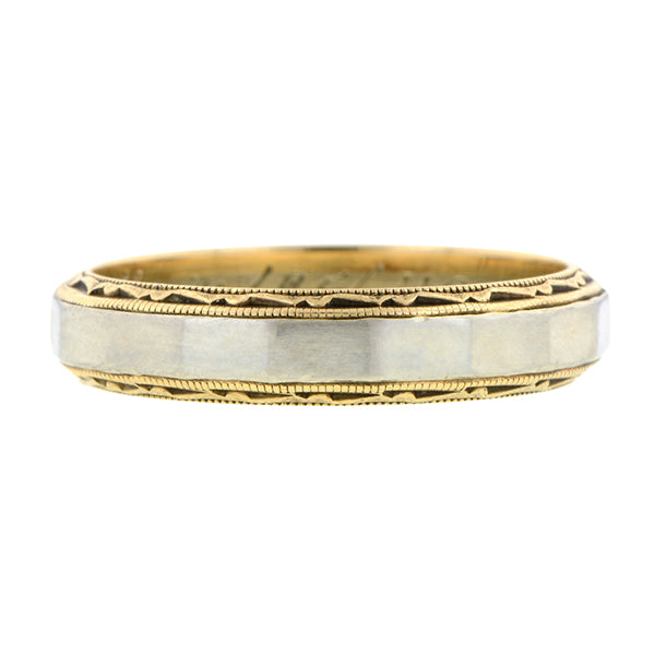Vintage Patterned Two-Tone Wedding Band Ring:: Doyle & Doyle