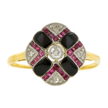 Edwardian Diamond, Onyx & Ruby Ring:: Doyle & Doyle