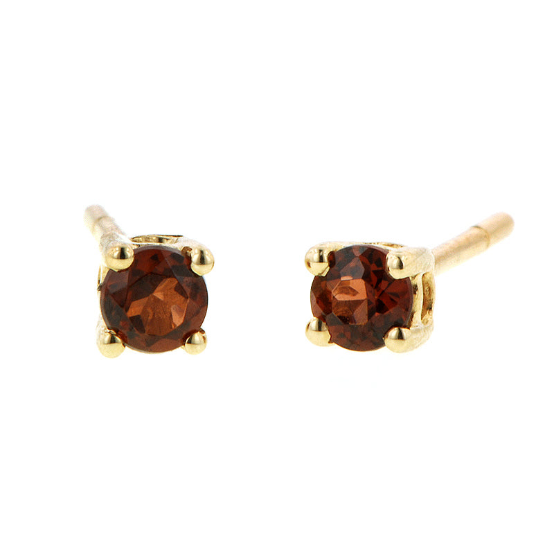 Garnet Stud Earrings: Garnet Stud Earrings set in Yellow Gold, sold by Doyle & Doyle vintage and antique jewelry boutique.