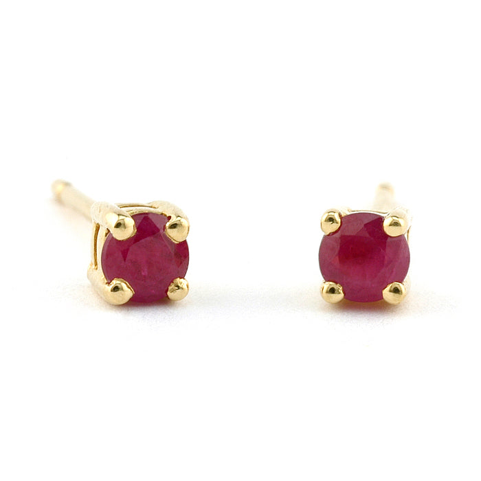 Round Ruby Stud Earrings,  3mm Yellow Gold