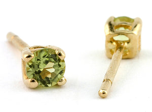 Round 3mm Peridot Stud Earrings