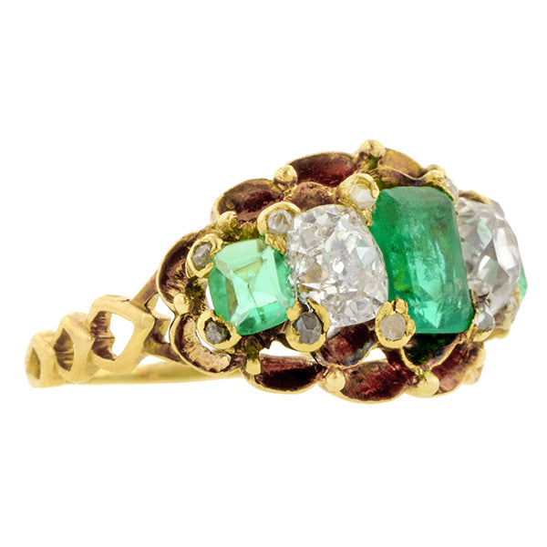 Victorian Emerald & Diamond Ring::Doyle & Doyle