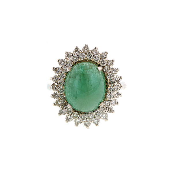 Cabochon Emerald & Diamond Frame Ring