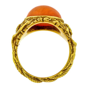 Art Nouveau Coral Mermaid Ring::Doyle & Doyle