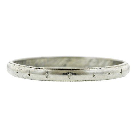 Antique ring: a Platinum Patterned Wedding Band sold by Doyle & Doyle vintage and antique jewelry boutique.