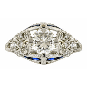 Vintage Diamond & Sapphire Engagement Ring, TRB; 1.03ct::Doyle & Doyle