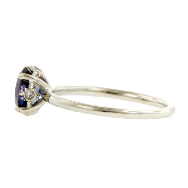 Contemporary ring: a Platinum North Star Sapphire Ring, 1.35ct.,Engagement Ring West 13th Collection- Heirloom sold by Doyle & Doyle vintage and antique jewelry boutique.