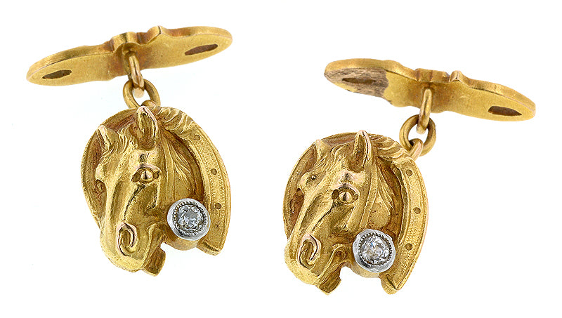 Horse & Horseshoe Old European Diamond Cufflinks::Doyle & Doyle
