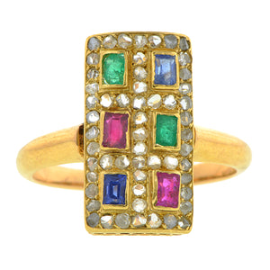 Antique Ruby, Emerald & Sapphire Ring