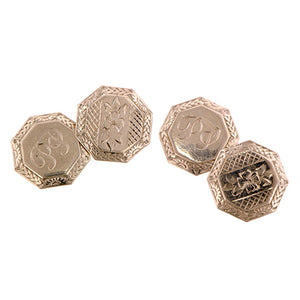 Art Deco Octagonal Engraved Flower Cufflinks:: Doyle & Doyle
